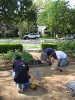 Boy Scout Troop 111 Lays New Flower Garden Edging