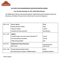 Agenda for the November 16 ONDNA Board Meeting
