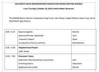 Agenda, October 18, 2018 ONDNA Board Meeting
