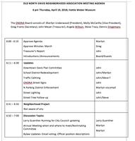 April 19 ONDNA Meeting Agenda
