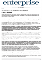 """""""Don't Let Our Urban Forest Die Off,"""" Op-ed from the Davis Enterprise (11-16-18)"""