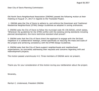 ONDNA Letter to the City of Davis Planning Commission re: Trackside Project